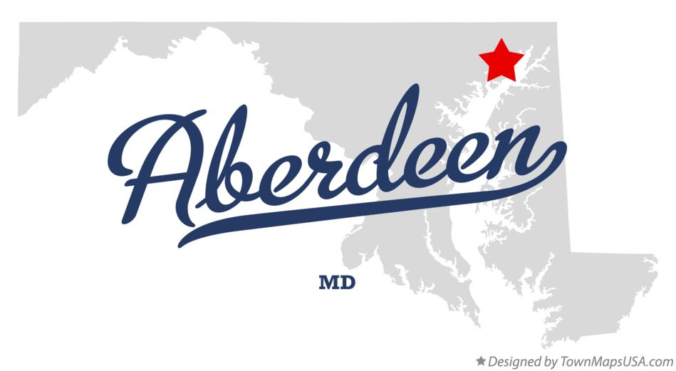 Map of Aberdeen Maryland MD