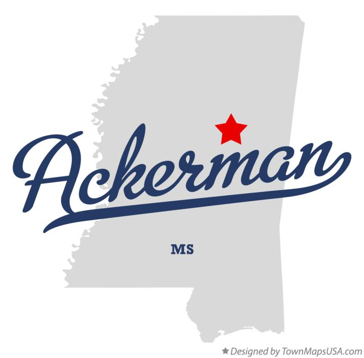 Map of Ackerman Mississippi MS