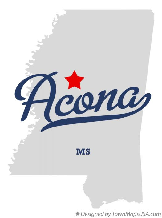 Map of Acona Mississippi MS