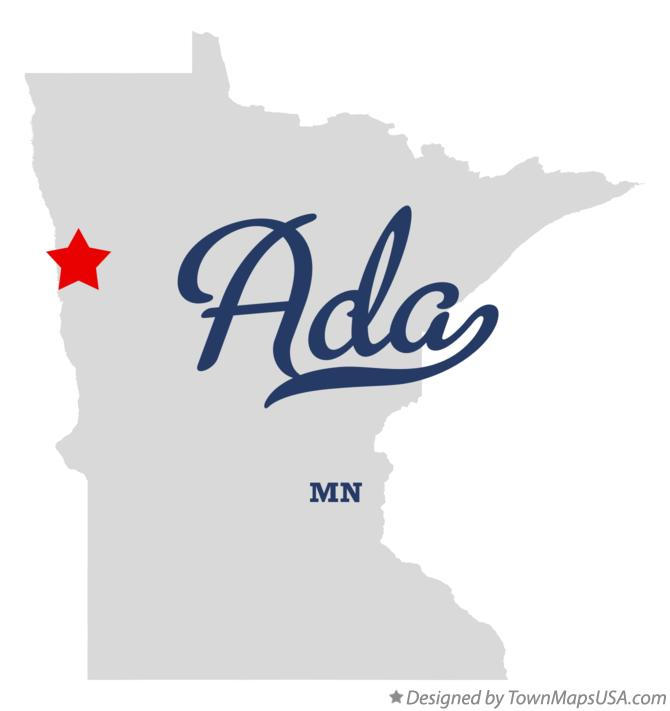 Map of Ada Minnesota MN