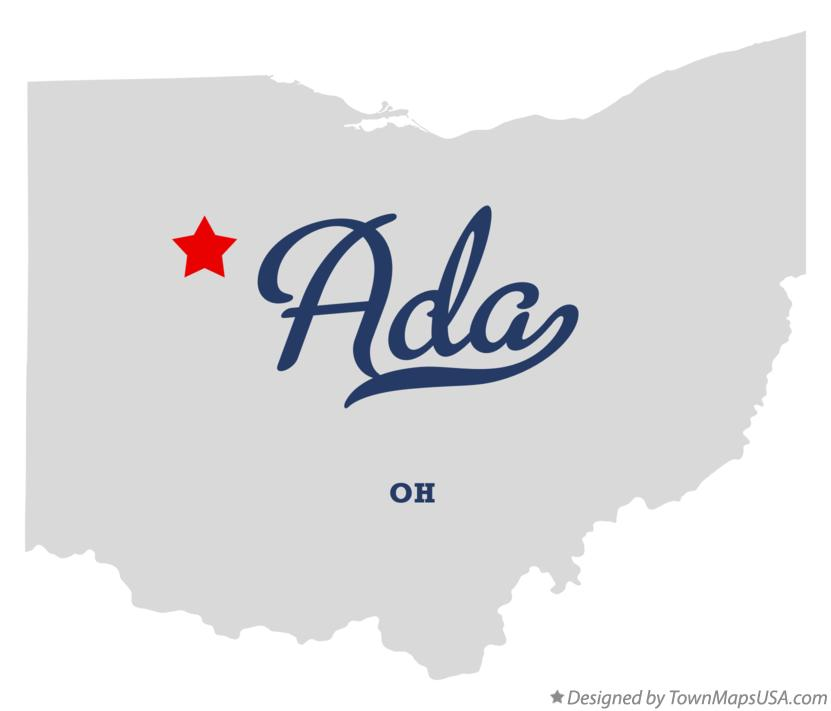 Map of Ada Ohio OH