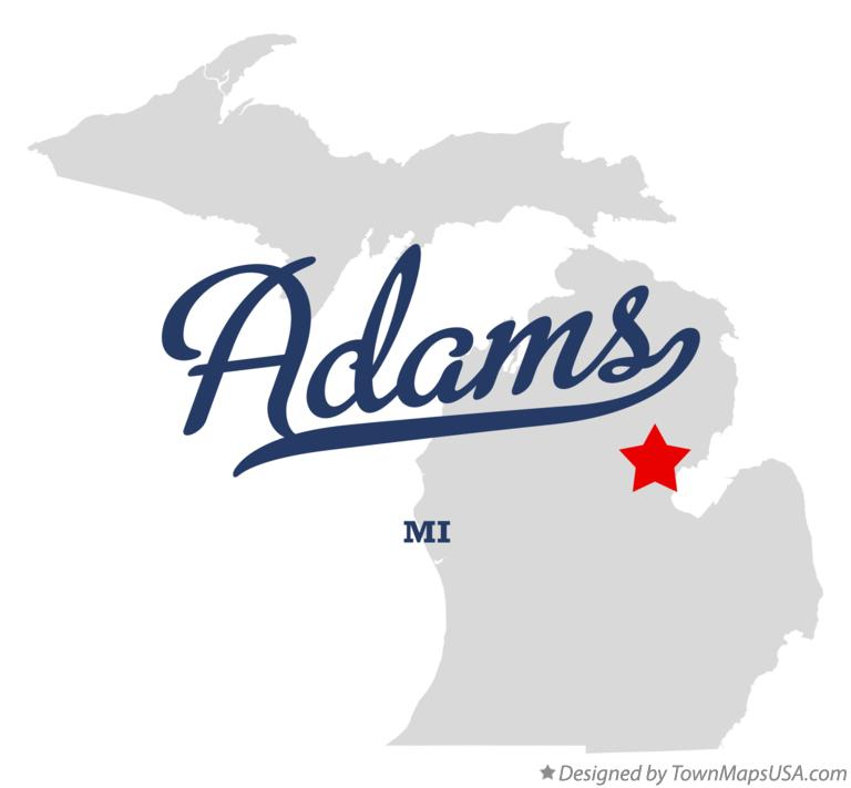 Map of Adams Michigan MI