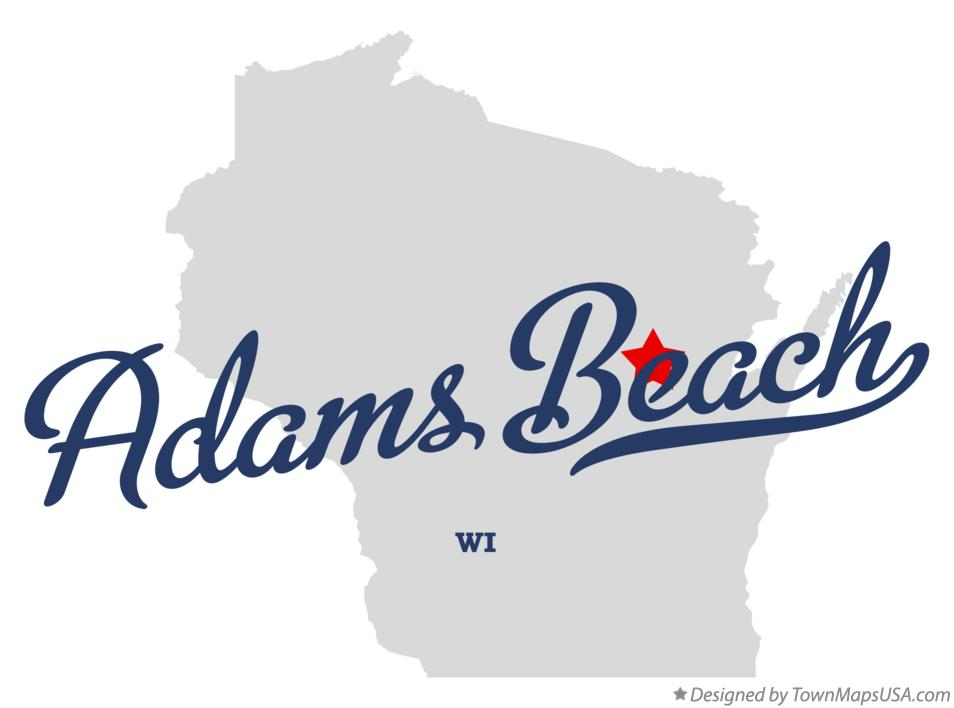 Map of Adams Beach Wisconsin WI