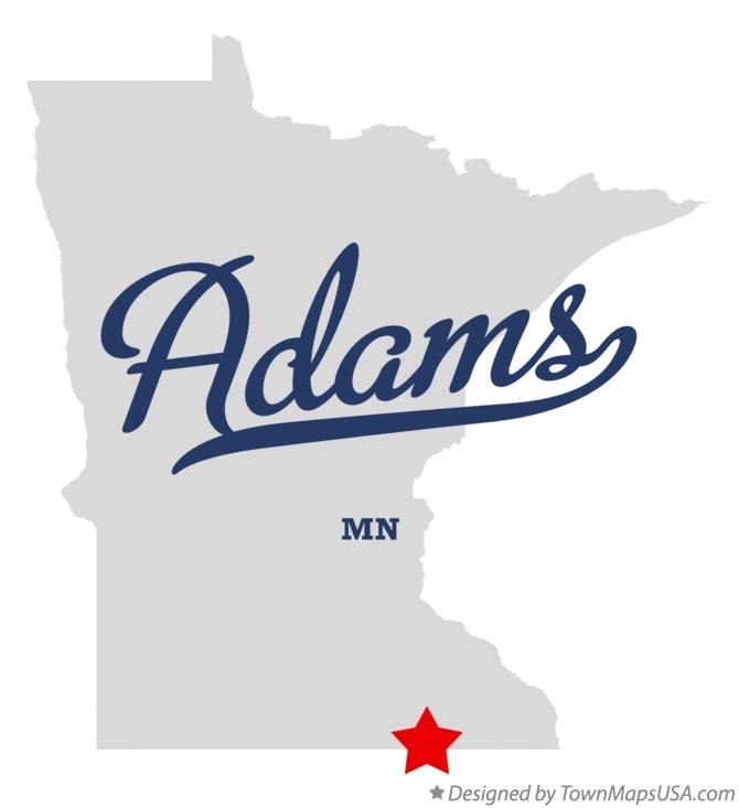 Map of Adams Minnesota MN