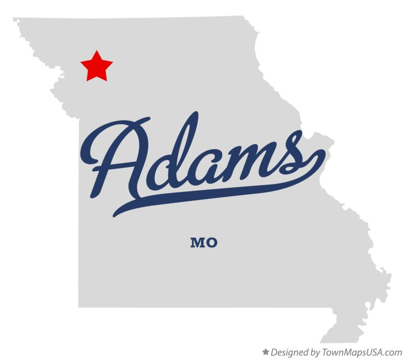 Map of Adams Missouri MO