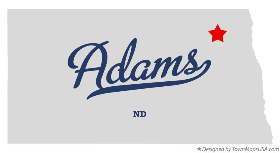 Map of Adams North Dakota ND