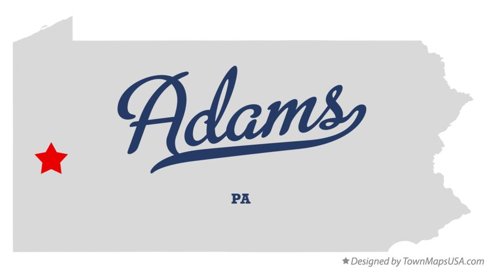 Map of Adams Pennsylvania PA