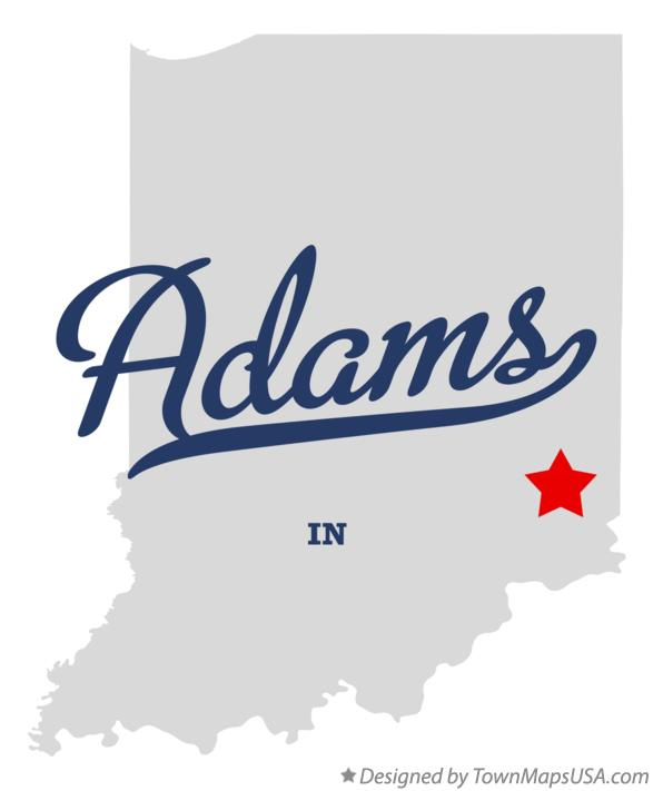 Map of Adams Indiana IN