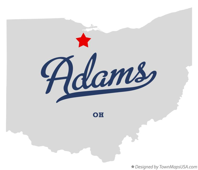 Map of Adams Ohio OH
