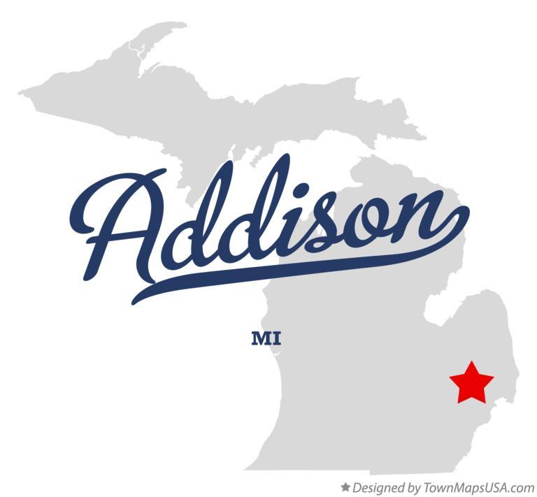 Map of Addison, Oakland County, MI, Michigan