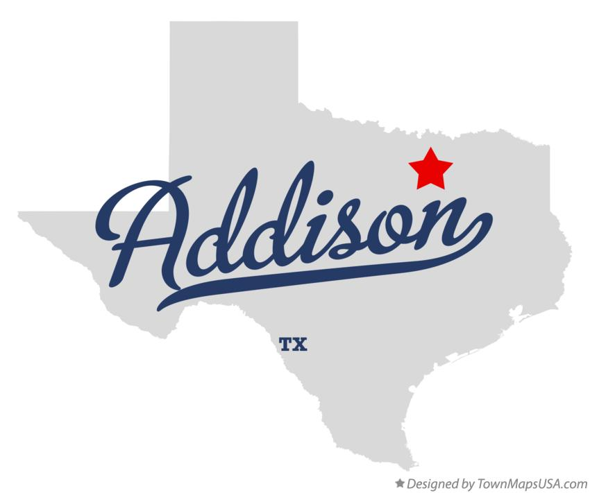 Map of Addison Texas TX
