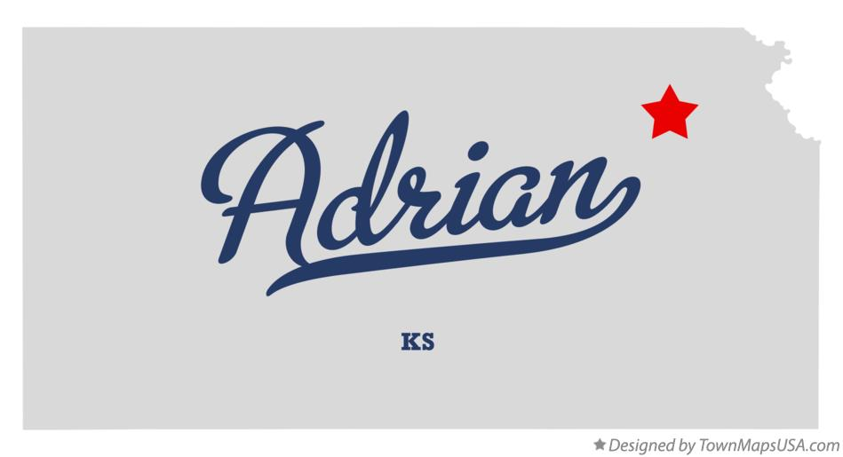 Map of Adrian Kansas KS