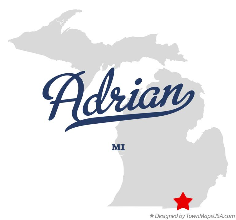 Map of Adrian Michigan MI