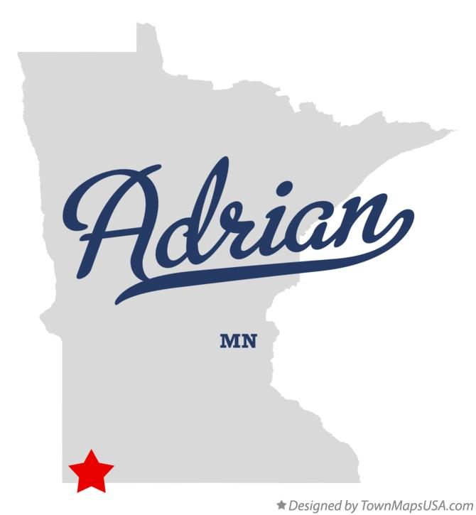 Map of Adrian Minnesota MN