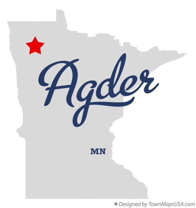 Map of Agder Minnesota MN