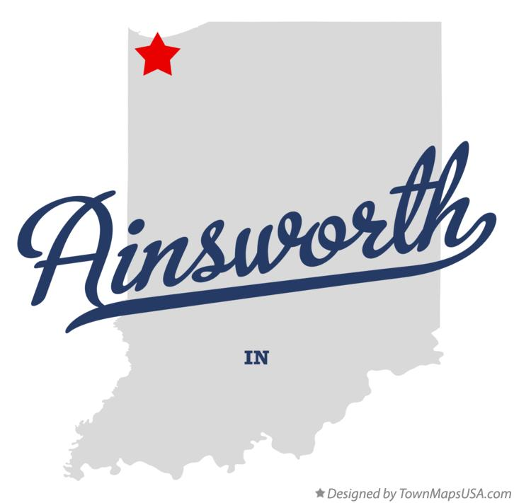 Map of Ainsworth Indiana IN
