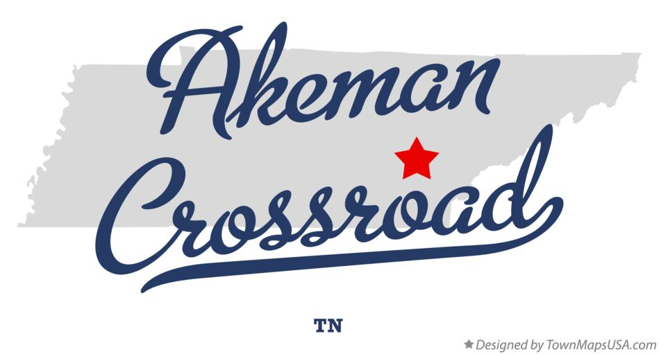 Map of Akeman Crossroad Tennessee TN
