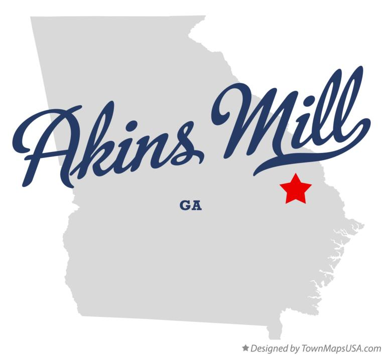 Map of Akins Mill Georgia GA