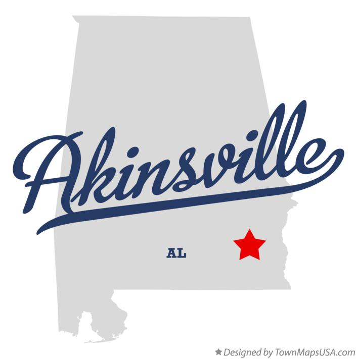 Map of Akinsville Alabama AL