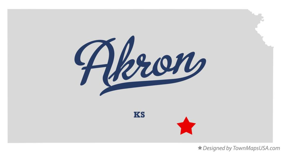 Map of Akron Kansas KS