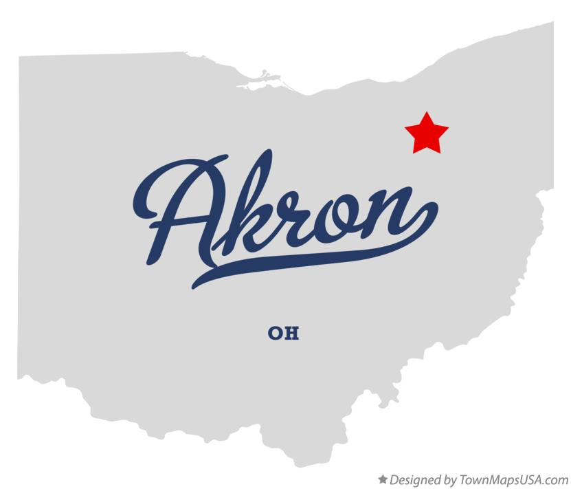 Map of Akron, OH, Ohio