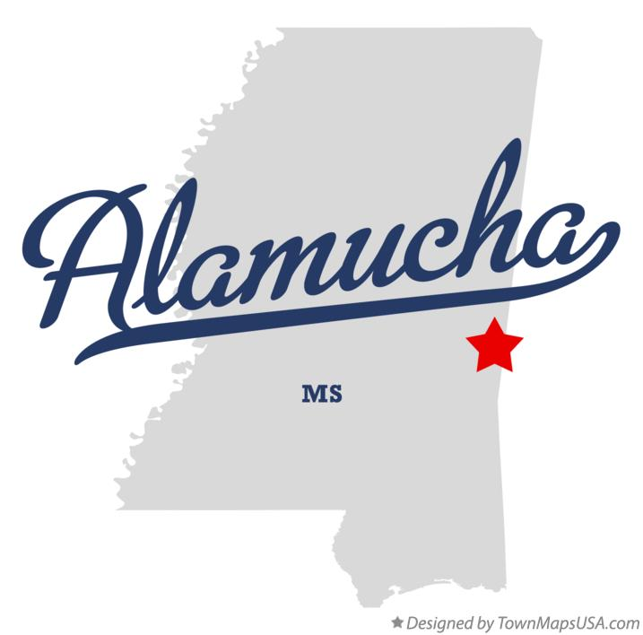 Map of Alamucha Mississippi MS