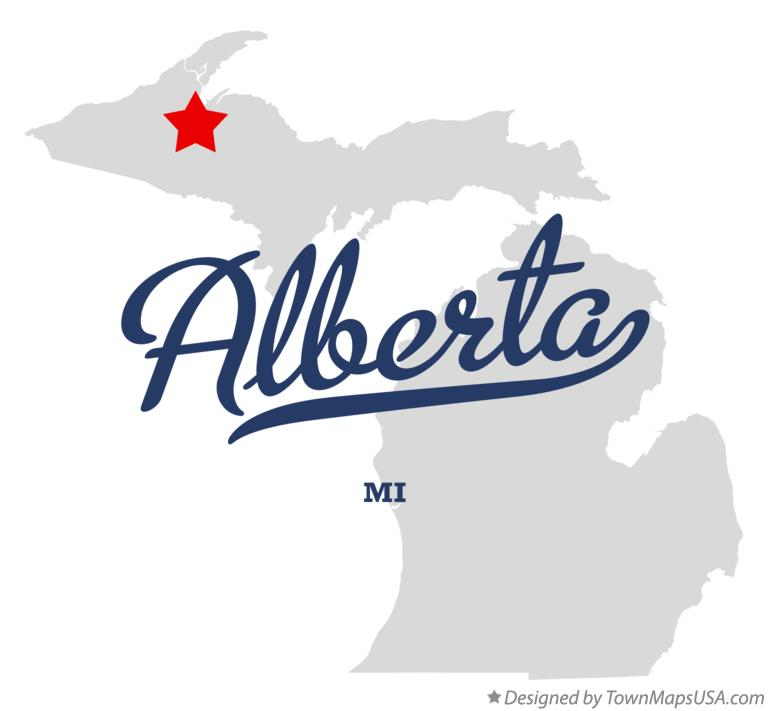 Map of Alberta Michigan MI