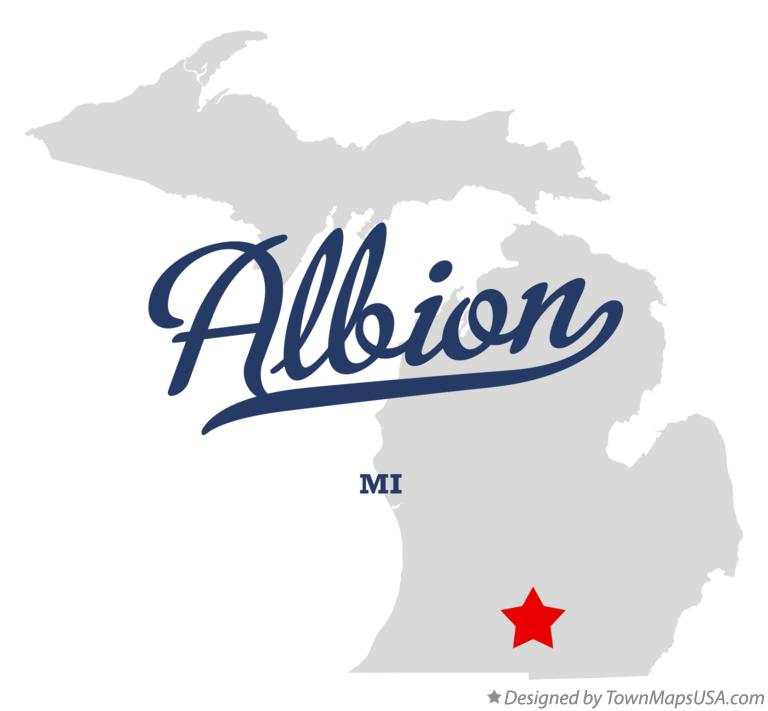 Map of Albion, MI, Michigan
