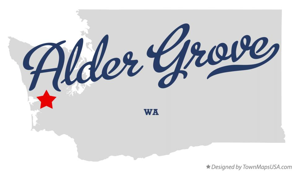 Map of Alder Grove Washington WA