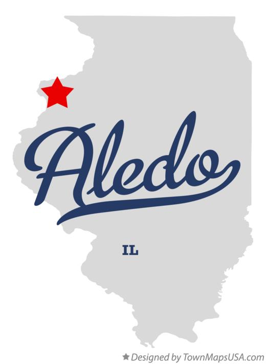 Map of Aledo Illinois IL