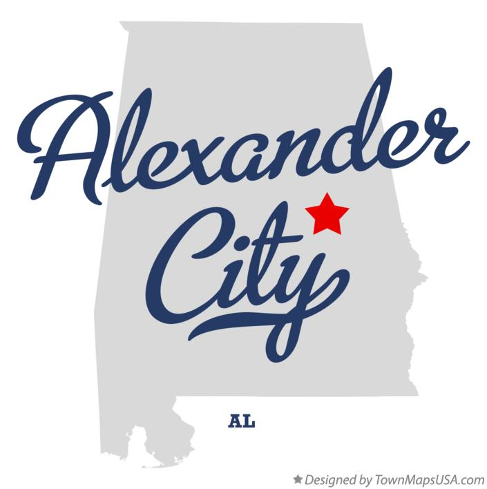 Map of Alexander City Alabama AL