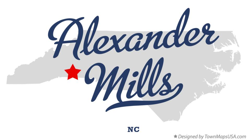 Map of Alexander Mills North Carolina NC