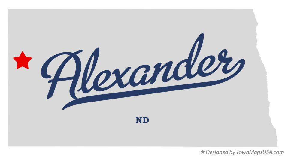 Map of Alexander North Dakota ND