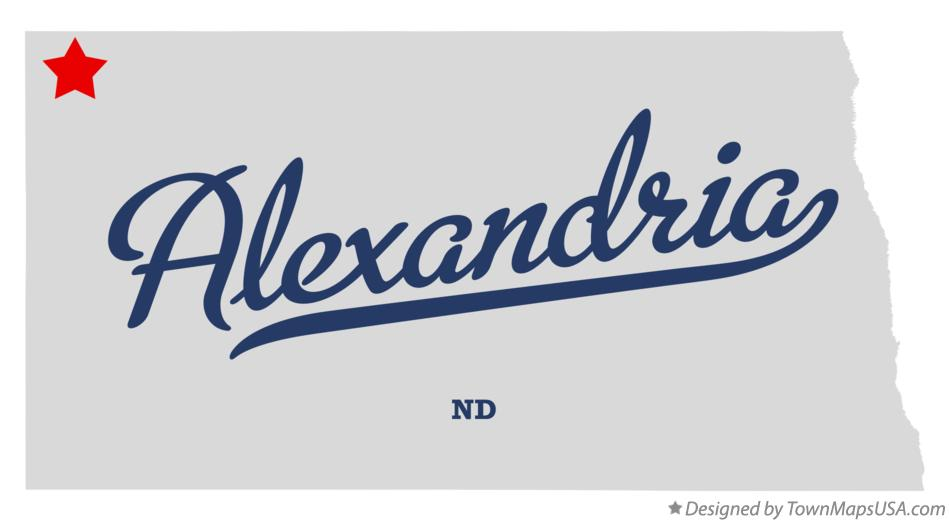 Map of Alexandria North Dakota ND
