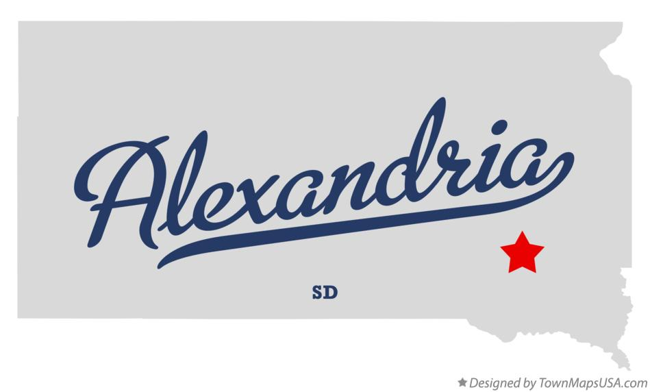 Map of Alexandria South Dakota SD