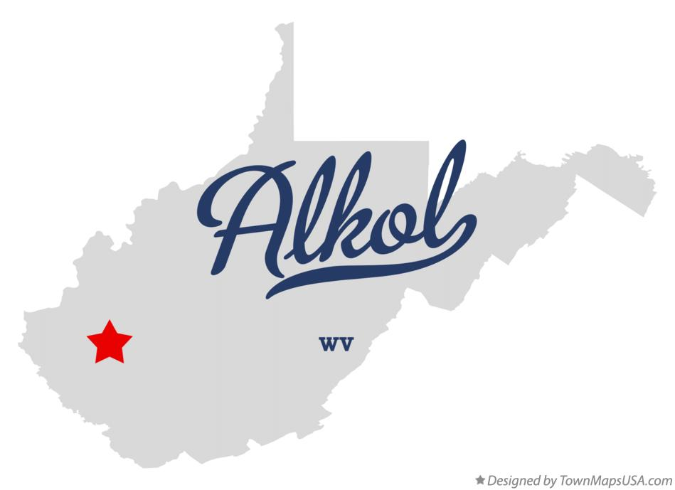 Map of Alkol West Virginia WV