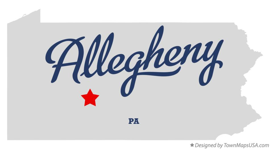 Map of Allegheny Pennsylvania PA