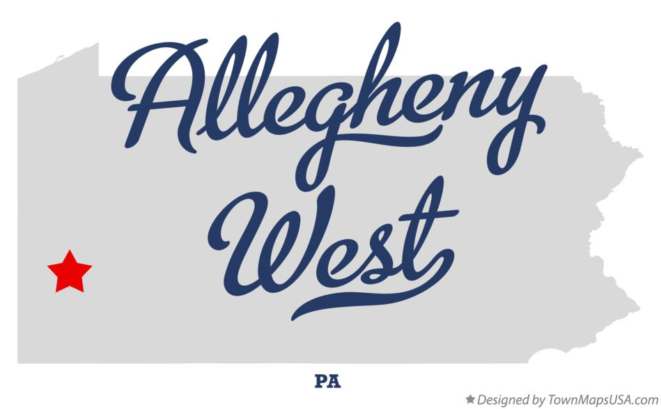 Map of Allegheny West Pennsylvania PA