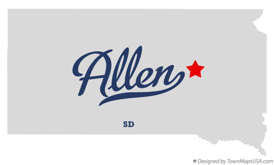 Map of Allen South Dakota SD
