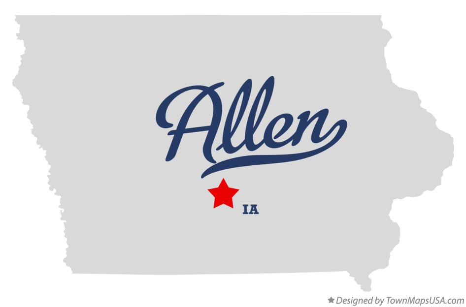 Map of Allen Iowa IA
