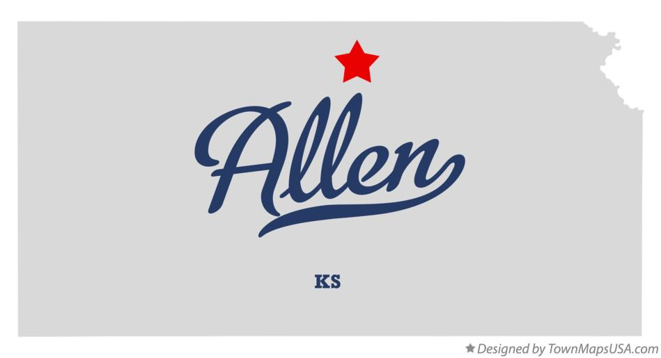 Map of Allen Kansas KS