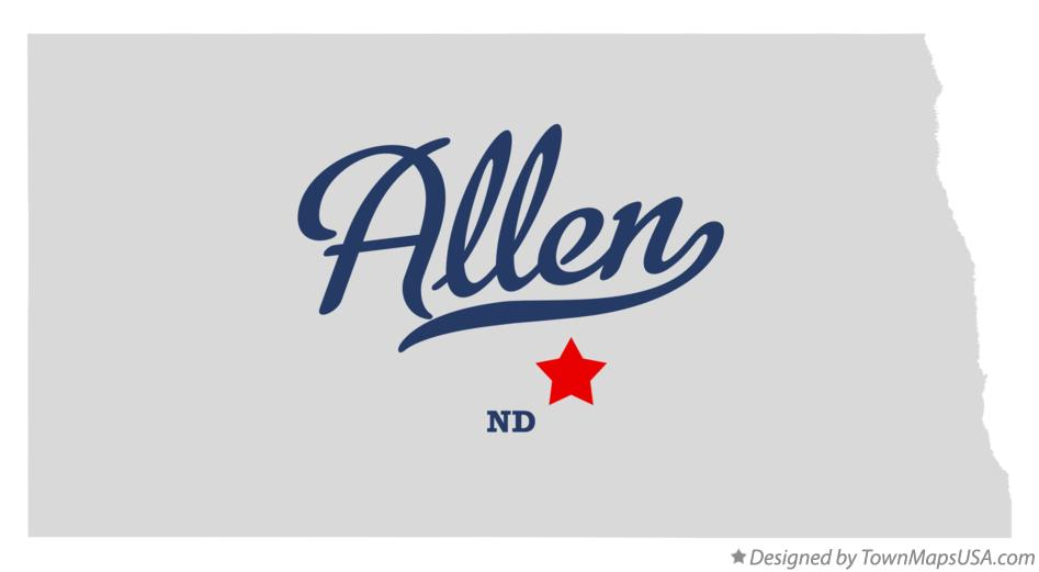 Map of Allen North Dakota ND