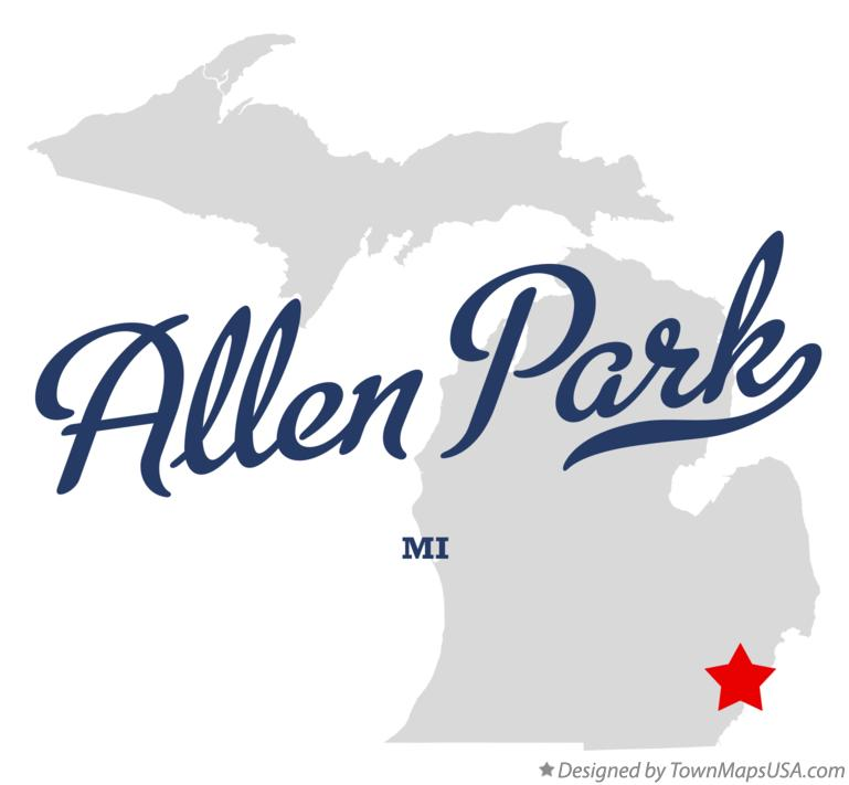 Map of Allen Park, MI, Michigan