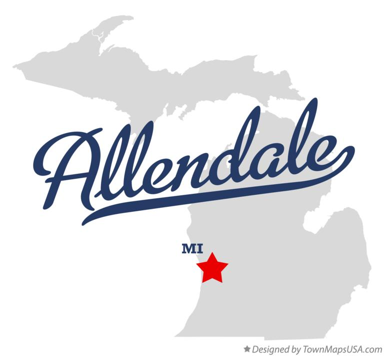 Map of Allendale Michigan MI