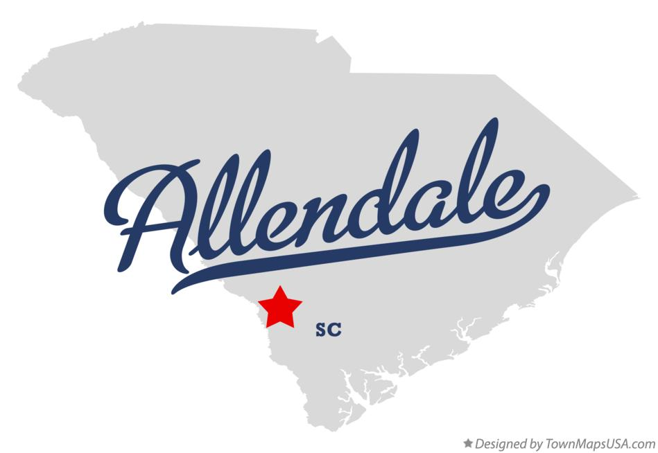 Map of Allendale South Carolina SC