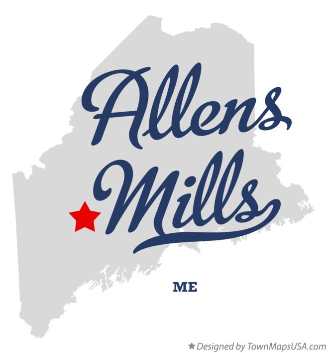 Map of Allens Mills Maine ME