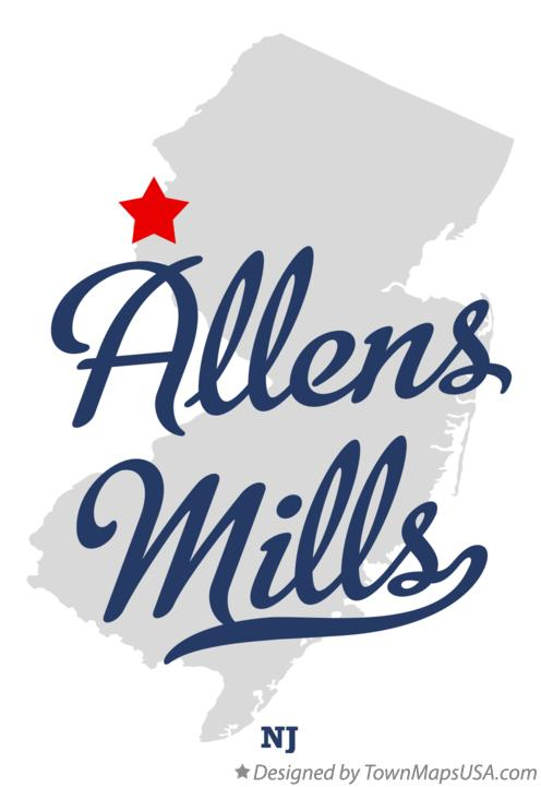 Map of Allens Mills New Jersey NJ