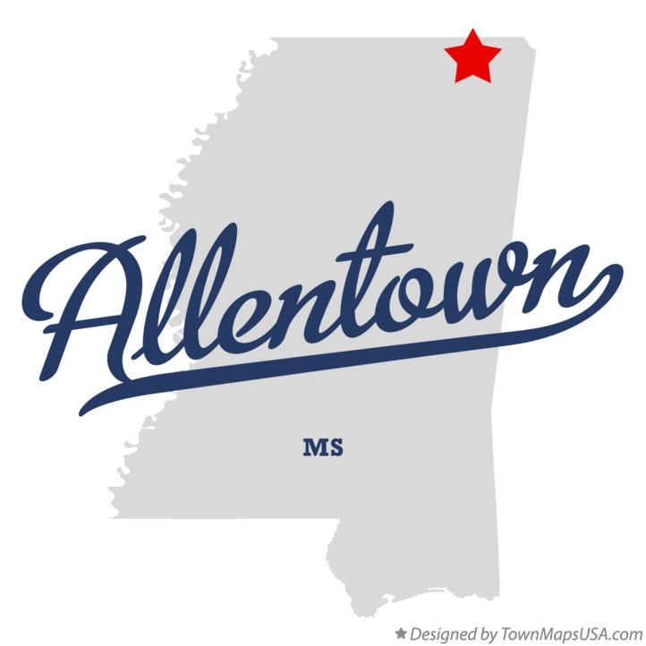 Map of Allentown Mississippi MS