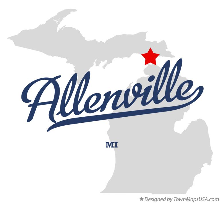 Map of Allenville Michigan MI