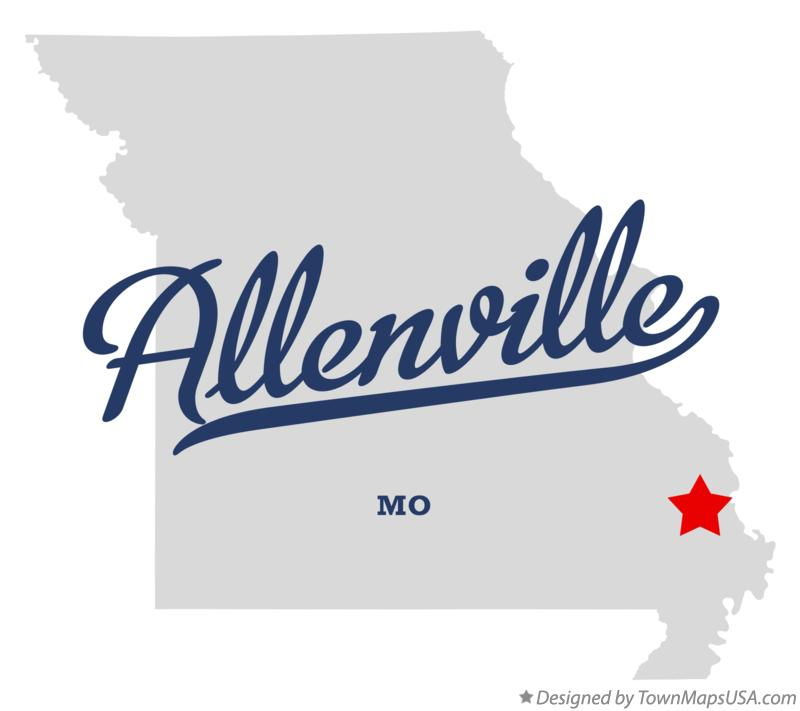Map of Allenville Missouri MO